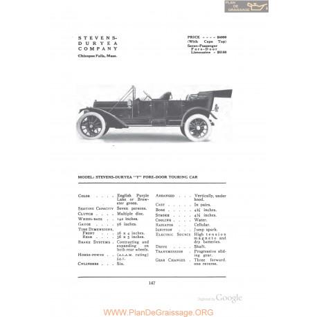 Stevens Duyea Y Fore Door Touring Fiche Info 1912