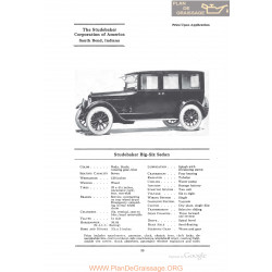 Studebaker Big Six Sedan Fiche Info 1922