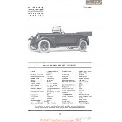 Studebaker Big Six Touring Fiche Info 1918