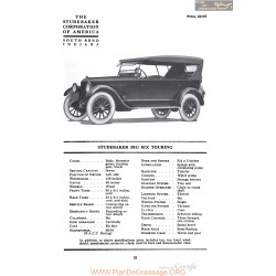 Studebaker Big Six Touring Fiche Info 1920
