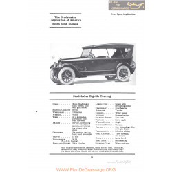 Studebaker Big Six Touring Fiche Info 1922