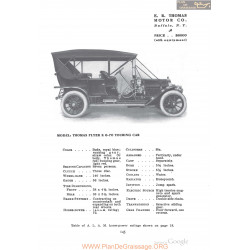Thomas Flyer K6 70 Touring Fiche Info 1910