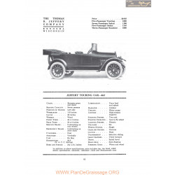 Thomas Jeffery Touring Car 462 Fiche Info 1916