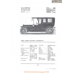 Thomas Six Forty Limousine Mc Fiche Info 1912