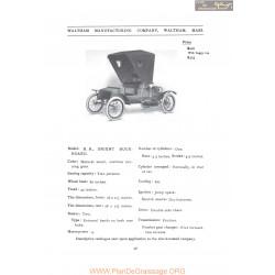 Waltham Model Br Orient Buck Board Fiche Info 1907