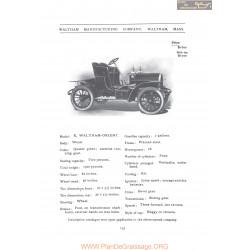 Waltham Model K Orient Fiche Info 1906