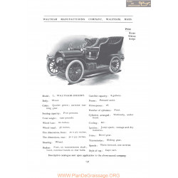Waltham Model L Orient Fiche Info 1906