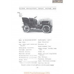 Waltham Model M Orient Fiche Info 1906