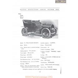 Waltham Model N Orient Fiche Info 1906