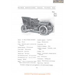 Waltham Model R Orient Fiche Info 1906