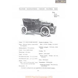 Waltham Tt Orient Fiche Info 1907