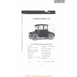 Waverley Electric 110 Fiche Info Mc Clures 1916