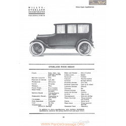 Willys Overland Four Sedan Fiche Info 1920