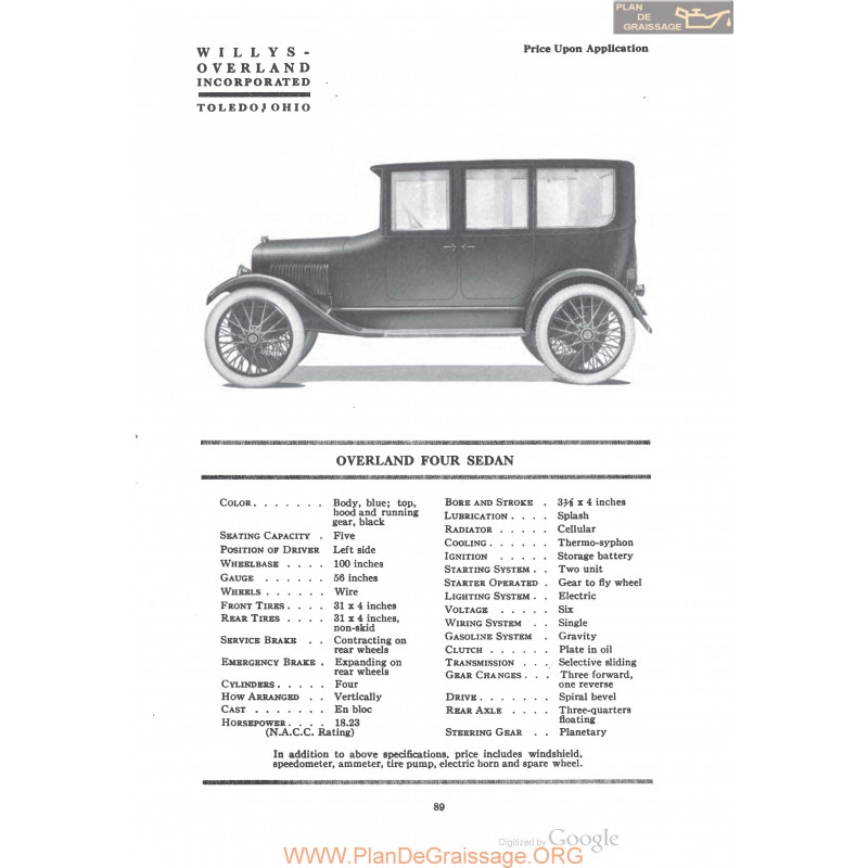 Willys Overland Four Sedan Fiche Info 1920