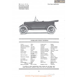 Willys Overland Four Touring Fiche Info 1920