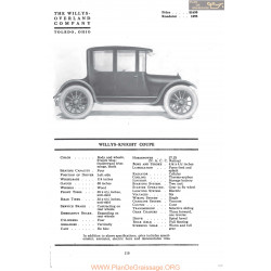 Willys Overland Knight Coupe Fiche Info Mc Clures 1917