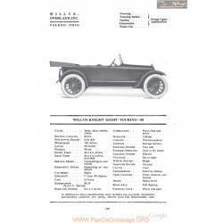 Willys Overland Knight Eight Touring 88 Fiche Info 1918