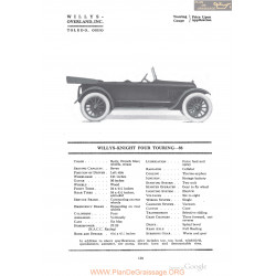 Willys Overland Knight Four Touring 88 Fiche Info 1918