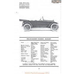 Willys Overland Knight Touring 88 Eight Fiche Info Mc Clures 1917