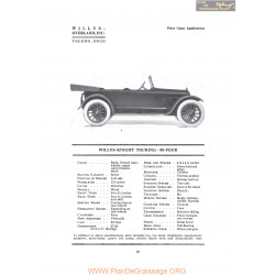 Willys Overland Knight Touring 88 Four Fiche Info 1919
