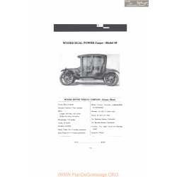 Woods Dual Power Coupe Model 44 Fiche Info 1916