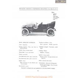 Wyckoff Model English Daimler Fiche Info 1907