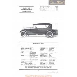 Yellow Ambassador Sport Fiche Info 1922