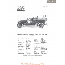 American La France Chemical And Hose Car Type 20 Fiche Info 1916