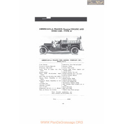 American La France Chemical Engine And Hose Car Type 10 Fiche Info Mc Clures 1916