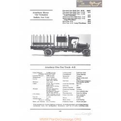 Atterbury Five Ton Truck 8e Fiche Info 1922