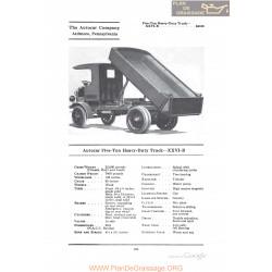 Autocar Five Ton Heavy Duty Truck Xxvib Fiche Info 1922