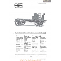 Autocar One And One Half Or Two Ton Truck Xxif Fiche Info 1918