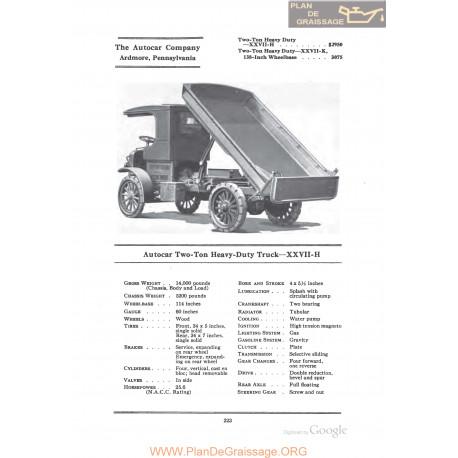 Autocar Two Ton Heavy Duty Truck Xxviih Fiche Info 1922