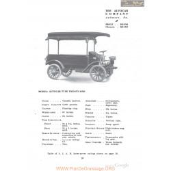 Autocar Type Twenty One Fiche Info 1910