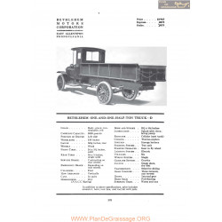 Bethlehem One And One Half Ton Truck D Fiche Info 1919