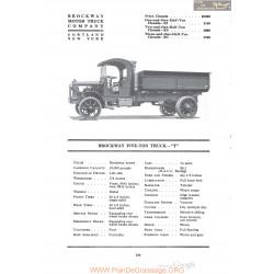 Brockway Five Ton Truck T Fiche Info 1920