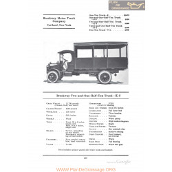 Brockway Two And One Half Ton Truck K5 Fiche Info 1922
