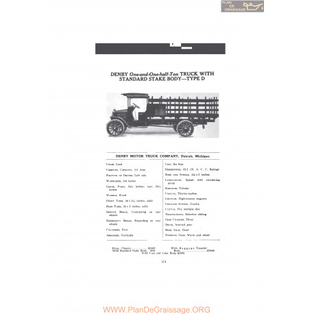 Denby One And One Half Ton Truck With Standard Stake Body Type D Fiche Info 1916