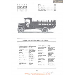 Denby Two And One Half Ton Truck Fiche Info 1920