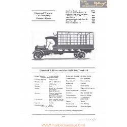 Diamond T Three And One Half Ton Truck K Fiche Info 1922