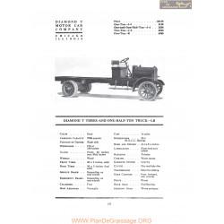 Diamond T Three And One Half Ton Truck Lb Fiche Info 1919