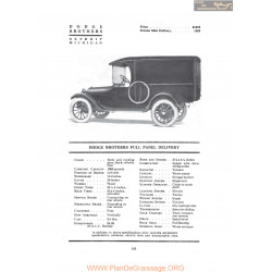 Dodge Brothers Full Panel Delivery Fiche Info 1919