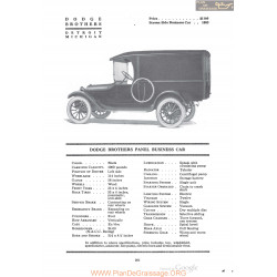 Dodge Brothers Panel Business Car Fiche Info 1920
