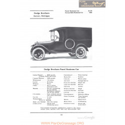 Dodge Brothers Panel Business Car Fiche Info 1922