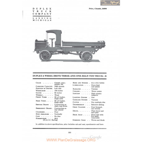 Duplex 4 Wheel Drive Three And One Half Ton Truck E Fiche Info 1920