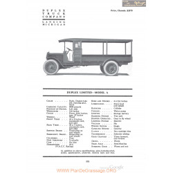 Duplex Limited Model A Fiche Info 1920