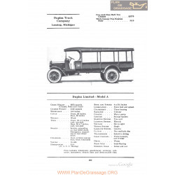 Duplex Limited Model A Fiche Info 1922
