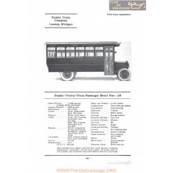 Duplex Twenty Three Passenger Motor Bus Ab Fiche Info 1922
