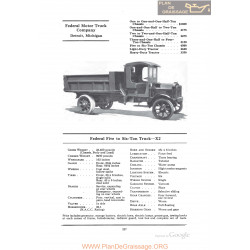 Federal Five To Six Ton Truck X2 Fiche Info 1922