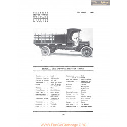 Federal One And One Half Ton Truck Fiche Info 1916